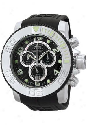 Invicta Men's Pro Diver Chronograph Black Carbon Fiber Dial Black Polyurethane 0412