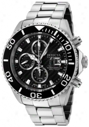 Invicta Men's Pro Diver/reserve Self-moving Chronograph Black Carbon Fiber Dial Stainless Steel 1069