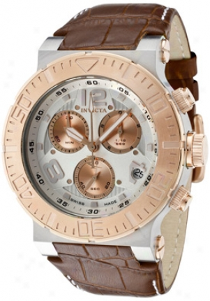 Invicta Men's Reserve Chronograph Silver Dial Brown Calf Leather 1851