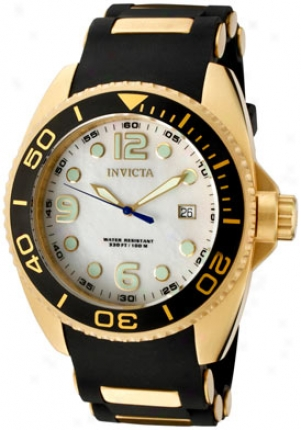 Invicta Men's Reserve White Mop Dial Black Polyurethane& 18k Gold Plated 0996