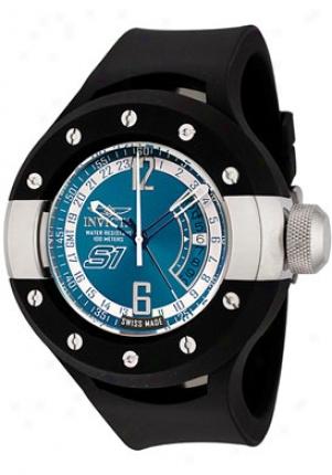Ivnicta Men's S1 Gmt Blue Enamel Dial Black Polyurethane 6847