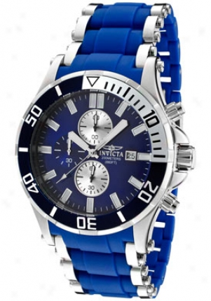 Invicta Meen's Sea Spider Chronograph Blue Dial Unsullied Steel & Melancholy Polyurethane 1477