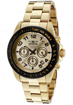 Invicta Men's Speedway Chronograph Champagne Dial 18k Gold Plated Ss 10703
