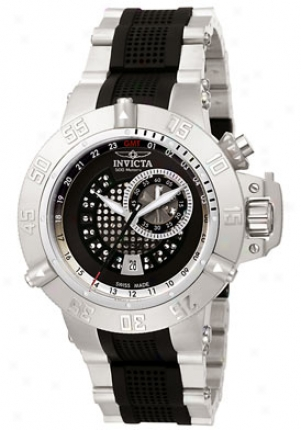 Invicta Men's Subaqua Noma Ii Gmt Black Dial Stainlesss Steel 6161