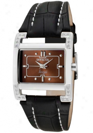 Invicta Women's Angel White Diamond Brown Dial Black Genuine Calf Leather 0585
