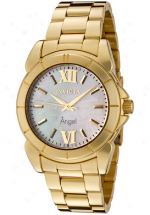 Invicta Women's Angel Whige Mother Of Pearl Dial 18k Gold Plated 0460