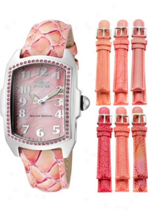 Invicta Women's Baby Lupah Pink Mop Dial Pink Leather 10209