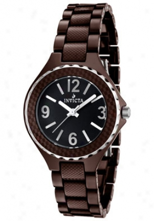 Invicta Women's Ceramic Negro Dial Silver Toje Bezel Brown Ceramic 1160