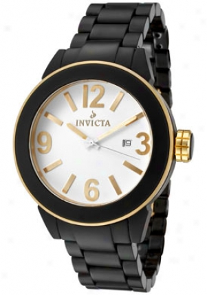 Invicta Women's Ceramic White Dial 18k Gold Plated Bezel Black Ceramic 1165