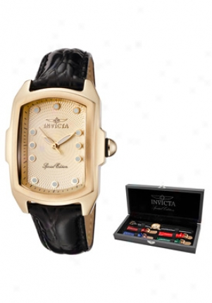 Invicta Women's Lupah Special Edition Gold Tone Dial Black Leather 1031