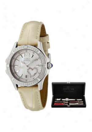 Invicta Women's Wildflower White Crystal Shiny Beige Leather 0688