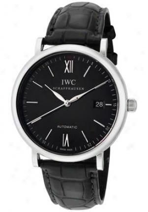 Iwc Men's Portofino Autimatic Black Dial Black Leather Iw356502