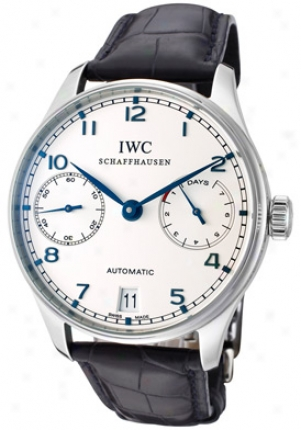 Iwc Men's Portugueze Automatic Silver Dial Dark Blue Leather Iw500107