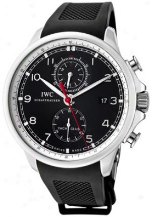 Iwc Men's Portuguese Yatch Club Automatic Chronograph Black Dial Black Rubbet Iw390210