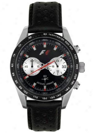 Jacquues Lemans F1 Men's F1 Chronograph Black Leather F5019a