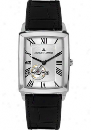Jacques Lemans Men's Bienne Automatic 1-1610b Black Leather 1610b