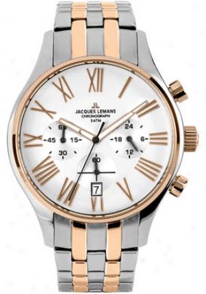 Jacques Lemans Men's Capri Chronograph 1-1605k Stainless Stsel Ip-rose Duetone 1605k