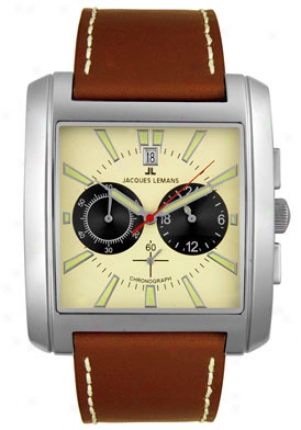 Jacques Lemans Men's Chronograph Chestnut Leather 1441b
