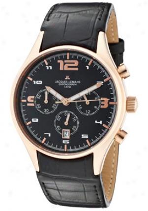 Jacques Lemans Men's Divine Chronograph Black Dial Black Leather 1426h-blk