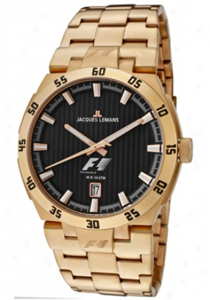 Jacques Lemans Men's Formula 1 Black Textured Dial Rose Gold Tone Ion Plated Stainless Steel F5042h