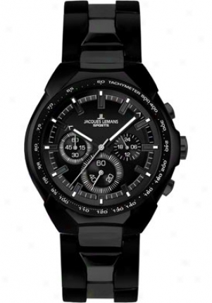 Jacquus Lemans Men's Jã¼rgen Melzer Collection Chronograph 1-1676c Stainless Steel Ip-black 1676c