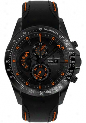 Jacques Lemans Men's Liverpool Daydate Chronograph Black Leather 1635d