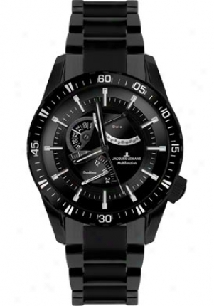 Jacques Lemanss Men's Liverpool Gmt 1-1584o High Tech Ceramic Stainless Steel Ip-black 1584o