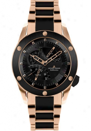 Jacques Lemans Men's Liverpool Gmt High Tech Ceramic Unsullied Steel Ip-rose 1634j