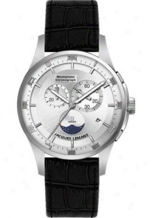 Jacques Leamns Men's London Moon Phase Black Leather 1447b