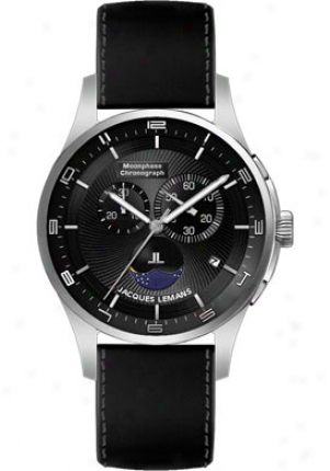 Javques Lemans Men's London Moonphase 1-1447a Negro Leather Strap 1447a