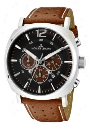 Jacques Lemans Men's Lugano Chronograph Black Dial Brown Perforated Leather 1645c