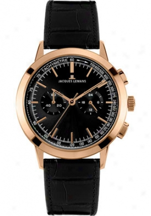 Jacques Lemans Men's Nostalgie Chronlgraph Mourning Dial Negro Leather N-204e