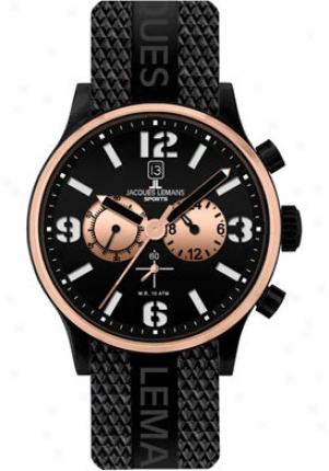 Jacques Lemans Men's Porto Chronograph Black Dial Black Rubber 1659d
