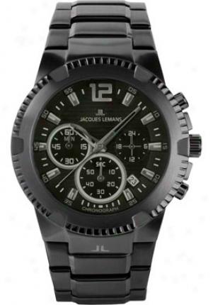 Jacquex Lemans Men's Powerchrono 10 Chronogarph 1-1455k Stainless Steel Ip-black 1455n