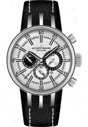 Jacques Lemans Nagano Chronograph 1-1519b Black Leather 1519b