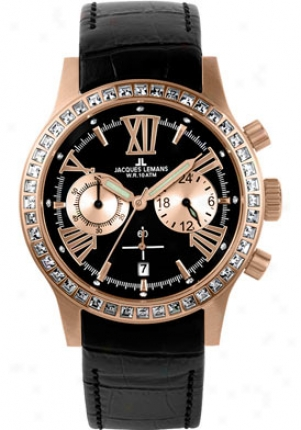 Jacques Lemans Women's Porto Chronograph 1-1527c Black Leather 1527c