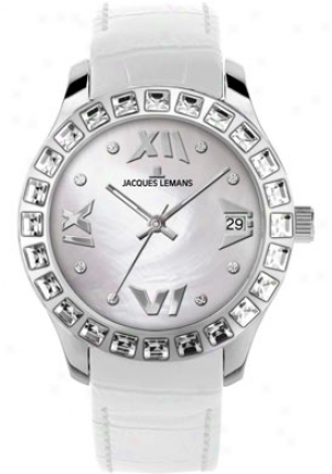 Jacques Lemans Women's Rome Swarovski Crystal1 -1571m White Leather 1571m