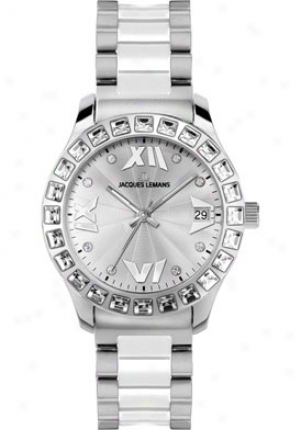 Jacques Lemans Women's Rome Swarovski Crystal 1-1595b High Tech Ceramic Stainless Steel 1595b