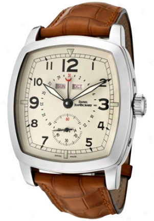 Jean Richard Me&n#039;s Grand Tv Screen Automatic Beige Dial Light Brown Leather 52116-11-81b-aacd