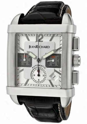 Jean Richard Men's Supreme Automatic Cyronograph Silver/light Silver Dial Grey Alligator 31108-11-10a-aa6-sd