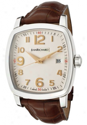 Jean Richard Men's Tv Screen Automatic Light Ivory Textured Dial Brown Leather 60116-11-10a-aaed
