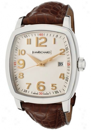 Jean Richard Men's Tv Screen Ajtomatic Light Ivory Textured Dial Brown Leather 60116-11-10a-aaed-sg