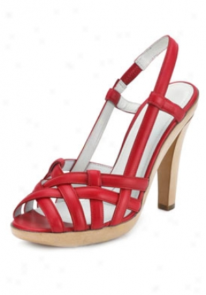 Jil Sabder Red Leather Strappy Sandals 861030570-re-38.5