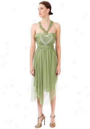 John Galliano Light Green Sleeveless Silk Dress Dr-8act06-ltgrn-40