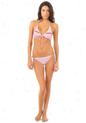 John Galliano Pink Two Piece Striped Swimsuit Wsw-b03h602-fs44