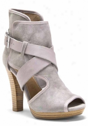 Kelsi Dagger Light Grey Peep Toe Engraving Out Bootie With Buckle Marcelle-lighgrey-8.5