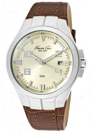 Kenneth Cole Men's Champigne Dial Brown Leather Kc1875