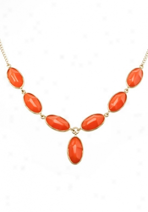 Kenneth Jay Lane Coral Stone & Gold Plated Necklace 8824nc-coral