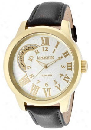 Lancawter Italy Men's Non Plus Ultra Porous Silver Textured Dial Gold Ip State Black Calf Leather Ola0445sl-yg-nr