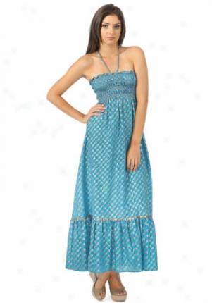 Lotus Teal Silk Strapless Dress Maxidress-teal-p